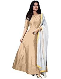 NEW DESIGNER CREAM COLOUR PLAIN SILK GOWN DRESS MATERIAL FREE SIZE SALWAR SUIT PARTY WEAR LEHENGA FOR GIRLS AND...