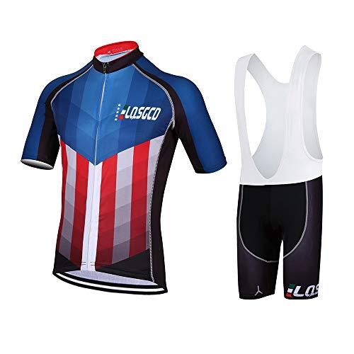 HONGWEI Sommer Herren Radsport Anzüge Fahrrad Kurzarm Set Schnelltrocknendes Atmungsaktives Hemd + 3D Radhose für Mountainbikes Rennrad Trikots Fahrradbekleidung