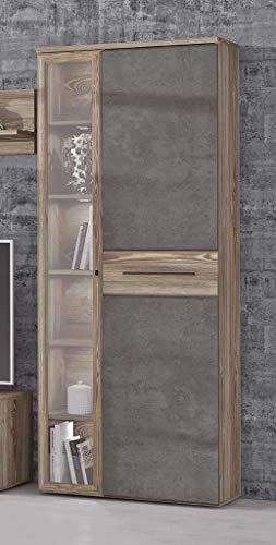 Forte Möbel Vitrine Mindi 2 Türen Links verglast Optik: Picea Kiefer/Betonoptik -