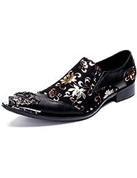 SHIXRAN Zapatos de Vestir de Moda para Hombre Zapatos de Cuero Casuales Patrón Personalizado Zapatos de Novedad (Color : Negro, tamaño : 41 EU)
