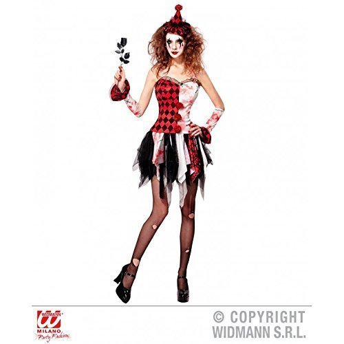 Lively Moments Kostüm Horror Harlekin Mädchen / blutiges Halloweenkostüm Horrorclown mit Armstulpen und Minihut / Damenkostüm Gr. S = 36 - 38 (Harlekin Mädchen Kostüm)