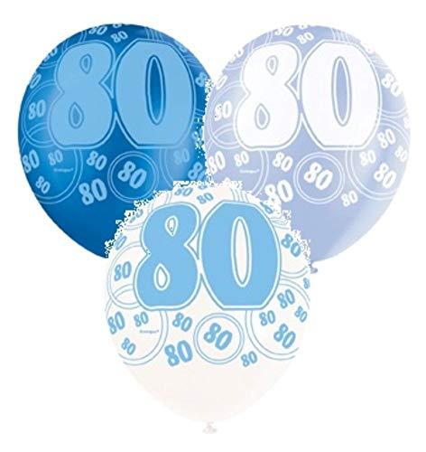 NANA'S PARTY Blue Glitz Latex-Luftballons, 30,5 cm, Perlglanzeffekt, 6 Stück 80th Birthday/Age 80