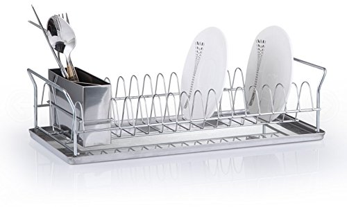 FurnitureXtra Stainless Steel Plate Dish Drainer with Tray and Cutlery Holder