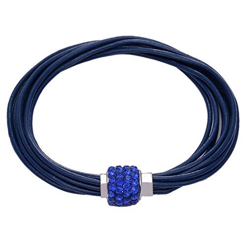 Morella Bracciale Donna in Pelle Blu con Bracciale a Chiusura Magnetica con Perline di zirconi Brillanti