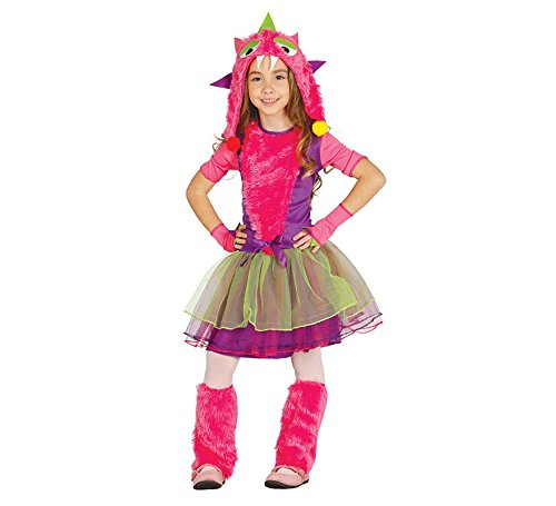 Monster Mädchen Pink Kostüm - kleines pinkes Monster Kostüm für Mädchen Karneval Halloween pink Gr. 98 - 146, Größe:122/128