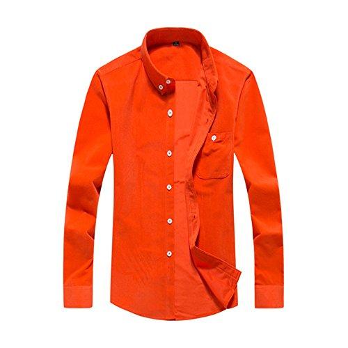 PIZZ ANNU Herren Einfach Einfarbig Cord Langarm-Shirt Orange