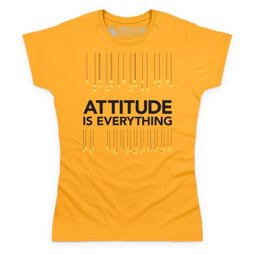 Attitude is Everything Braille Lanterns Dark T-Shirt, Damen Gelb