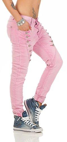 Fashion4Young 10826 MOZZAAR Damen Jeans Jeans Röhrenjeans Haremshose Damenjeans Hüftjeans Baggy (L=40, rosa) -