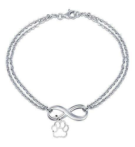 Pulsera - Amistad - Motivación - Colgante - Infinito - Pata - Animal - Perro - Gato - Hombre - Mujer - Unisex - Color plata