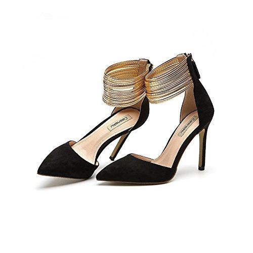 8,5 cm, 10,5 cm Schwarz Europa und die Vereinigten Staaten hohle Bankett spitzen High Heels, sexy goldenen Fuß Ring mit feinen Frauen einzelne Sandalen ( Farbe : Black10.5cm , größe : 36 )