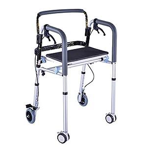 WZHWALKER Gehhilfe Für Ältere Menschen, Gehhilfe Aus Aluminiumlegierung Mit Bremse, 4-Rad-Sitzunterstützung