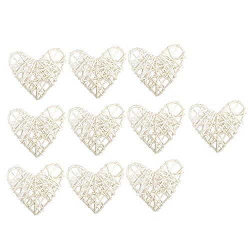 FLAMEER 10 Stücke Herz Wicker Rattan Tischschmuck Hochzeit Party zum Aufhängen Wobble Ball - Weiß, 8 cm