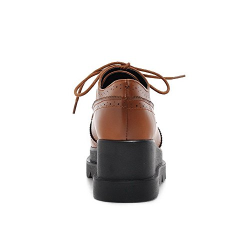 VogueZone009 Femme Carré Lacet Pu Cuir Couleur Unie à Talon Correct Chaussures Légeres Brun