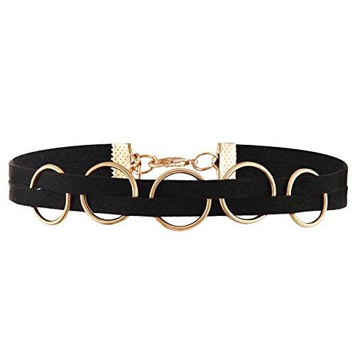 JewelryWe Schmuck Damen Choker Halskette, schwarz gotische Seil Goldrohr Velvet Spitze Choker Tattoo Punk Gothic Länge einstellbare Halsband mit runden Ring