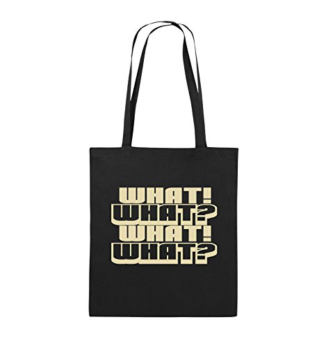Comedy Bags - WHAT! WHAT! WHAT! WHAT! - Jutebeutel - lange Henkel - 38x42cm - Farbe: Schwarz / Silber Schwarz / Beige