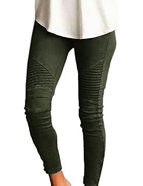 3397e7d2e5 Mujeres Moda Skinny Leggings Elástico Pantalones Casual Colores Lisos Lápiz Pantalones  de Largos