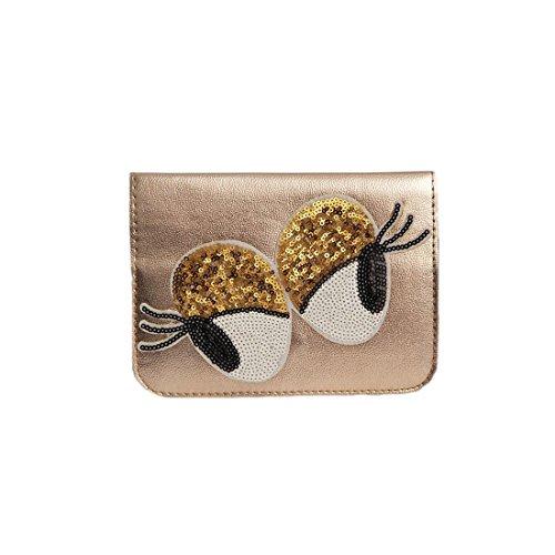 sweet deluxe 06466 Damen Handtasche für jeden Anlass | Handtaschen zum Umhängen | Geschnkidee für Sie Glamour Eyes | Coffee Gold