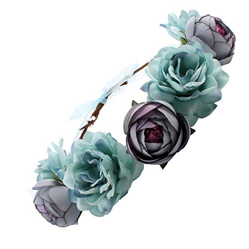 MagiDeal Frauen Braut Blume - blau