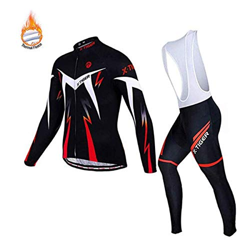 X-TIGER Herren Radsport Langarm Set Radtrikot mit 5D Gel Gepolsterte Trägerhose Herbst Winter Thermovlies Radsportbekleidung Anzüge (Red Winter Thermal Fleece Bib Set, Size L=EU M)