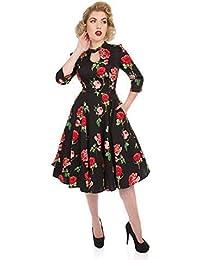 Hearts   Roses Londinese San Valentino Vintage Retrò 1950s Floreale Rose  Svasata Abito ... 1b4f7adc372