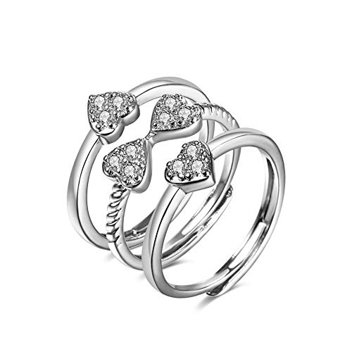 SSLL Ringe für 925 Sterling Silber Bogen Herz Ring Fashion Party Hochzeit Schmuck Weiblich 3 Stück Set (Hochzeit Ring 3 Stück Set)