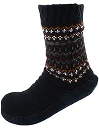 RJM Mens Fairisle Slipper Socks with Moleskin Soles Navy Blue