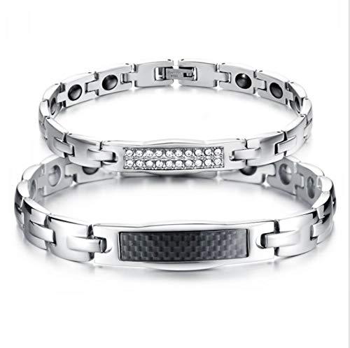 Beydodo Edelstahl Damen Armband Charm Armband Weiß Zirkonia -