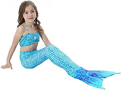 Highdas Baby Ninas 3 Pcs Princess Cola Sirena Trajes Bano Traje Bano Bikini Set