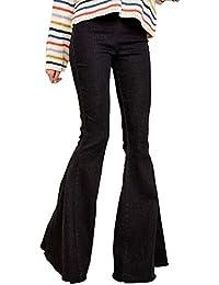 Minetom Mujer Pantalones Acampanados Vaquero Skinny Push Up Pantalones  Elástico Jeans Cintura Alta Denim Mezclilla Pants 23174c20e4f