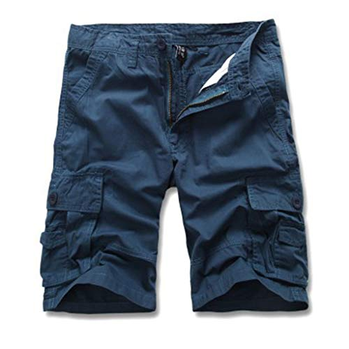 Cargo Hose Männer Kurz Shorts GreatestPAK Herren Einfarbig Cargo-Shorts Knopf Pocket Arbeitshorts Mode,Blau,EU:M(Tag:31) Field-cargo-hose