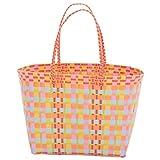 Overbeck and Friends Zara - Borsa per la spesa, in plastica intrecciata, resistente, impermeabile, colore: arancione/giallo/rosa/rosa