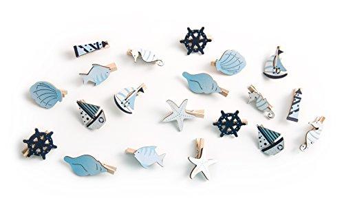 20 kleine maritime blaue Holz Klammern zum Verzieren