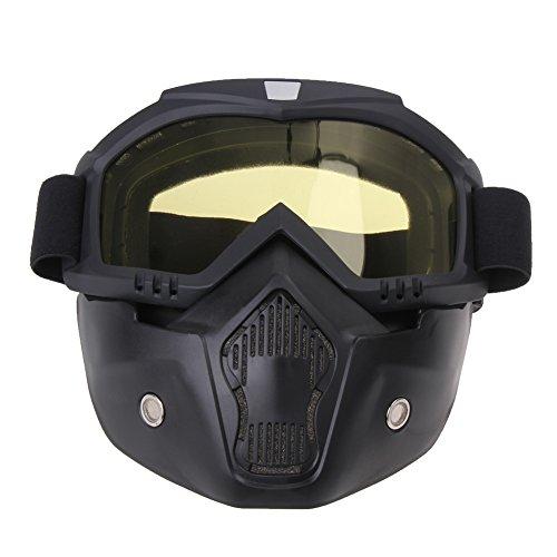 Prosperveil Motorradbrille, abnehmbar, Harley-Style, Schutzpolster, Helm, gelb