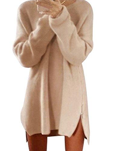 Donna Maglione Allentato Cerniera Laterale Cardigan Casuale Manica lunga Camicia Top Autunno Inverno Maglieria Oversize (M, albicocca)