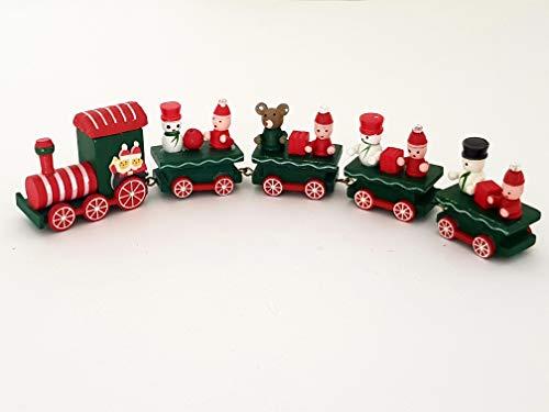 Takestop® treno trenino di legno natale con carrozze 4 vagoni 26 cm natalizio decorazione babbo pupazzo giocattolo bambini