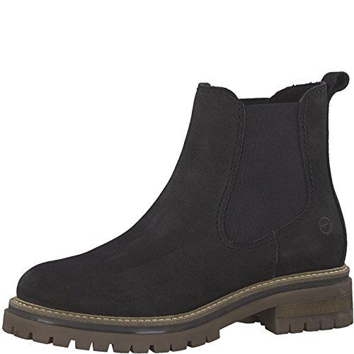 Tamaris Damen Chelsea Boots 25474-21,Frauen Stiefel,Halbstiefel,Stiefelette,Bootie,Schlupfstiefel,hoch,Blockabsatz 3.5cm,Black,EU 41