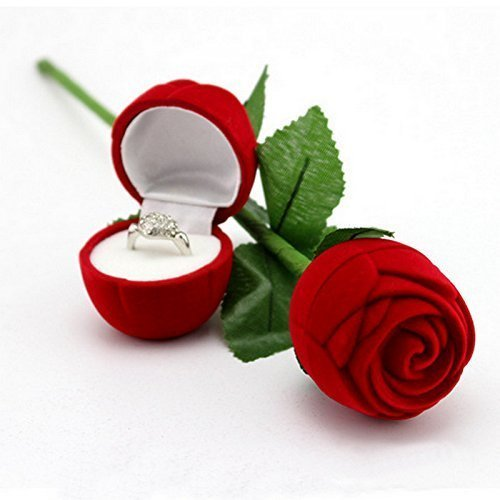 Peora Velvet Red Rose Jewellery Ring Box (Gift, Engagement) Single Box Without Ring