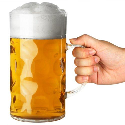off 2 Pint | 1Liter Bierkrug, Deutscher Krug, Biergefäß aus Plastik (Kunststoff-bierkrüge)