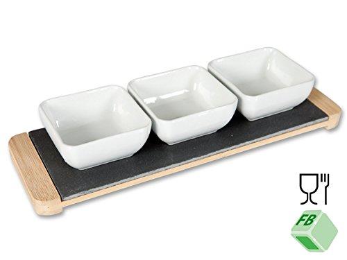 Set: Schiefertablett mit Dipschalen, mit Bambus-Griffen, 3 Porzellanschalen, rechteckig, 30 x 10 x 5 cm Schiefer Porzellan Bambus Buffet