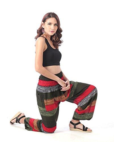 CandyHusky - Pantalon de sport - Femme taille unique Olive-Red