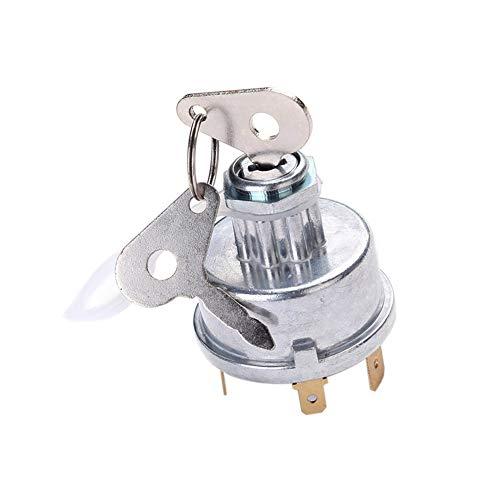 YSHtanj Zündsystem Schalter Universal 12/24V Auto Motorrad 3 Position Zündschalter Starter mit 2 Schlüsseln - Silber - Universal-auto-starter, Fernbedienung