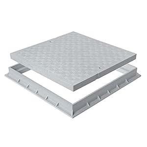 First Plast - Grilles, tampons et cadres PVC - Tampon de sol PVC renforcé avec cadre anti-choc 300x300mm - 71,00KN - Gris
