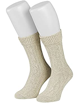 Tobeni 1 Paar Trachtensocken Socken kurz mit Umschlag und Zopfmuster Baumwolle-Leinen meliert für Damen und Herren