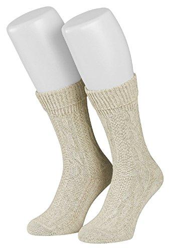 Tobeni 1 Paar Trachtensocken Socken kurz mit Umschlag und Zopfmuster Baumwolle-Leinen meliert für Damen und Herren Farbe Natur Meliert Grösse 39-42