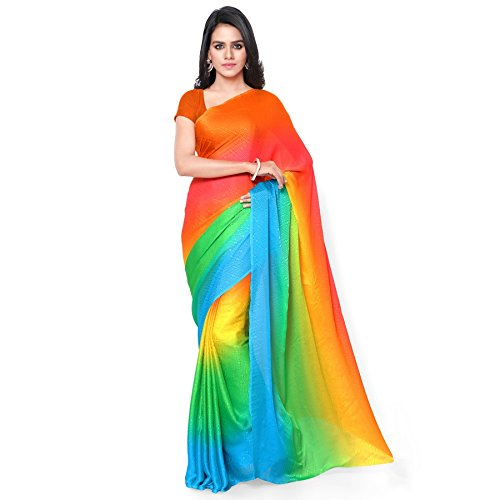 GL Women's Multicolour Crepe Shaded saree  available at amazon for Rs.750