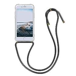 kwmobile Apple iPhone 6 / 6S Hülle - mit Kordel zum Umhängen - Silikon Handy Schutzhülle für Apple iPhone 6 / 6S - Transparent Schwarz