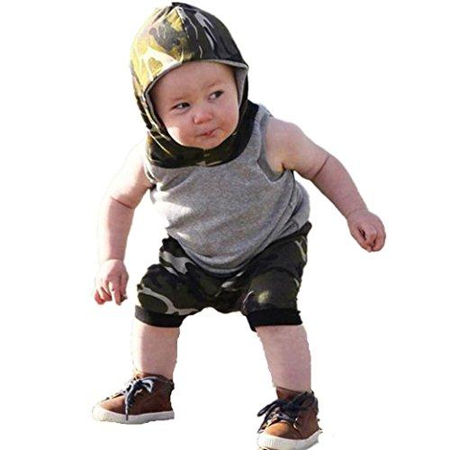 Longra Babymode Babykleidung Baby Jungen Ärmellos Kapuzenshirt Tops + Camouflage Shorts Sportlich Babykleidung Streetwear Neugeborene Kleidung (Gray, 100CM 24Monate) (Jungen Sportliche Shorts)