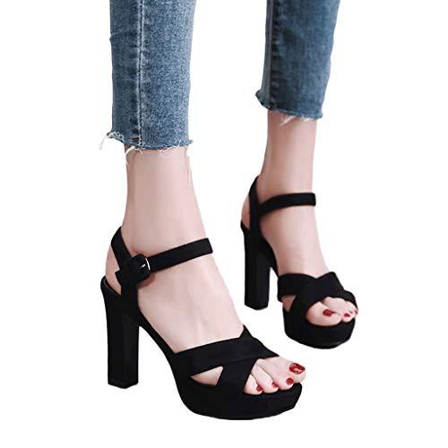 SANDALI Tacchi Alti Neri con Tacco Impermeabile Aperti con Tacco Grosso per Donna Elegante Cinturino alla Caviglia (Colore : Nero, Dimensioni : 37)