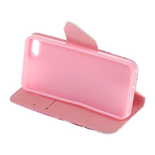 iPhone 5 Hülle Wallet,LuckyW PU Leder Hülle für Apple iPhone 5 5S SE TPU Soft Rückseite Abdeckung Ledertasche Brieftasche Flip Wallet Case Kuntsleder im Bookstyle Handyhülle Tasche Protective Shell Fo Kirschblüten