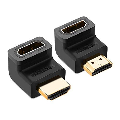 UGREEN HDMI Adapter 2 Stück 4K HDMI Winkel 270 Grad und 90 Grad HDMI Stecker auf Buchse Konverter Full HD HDMi Verbinder mit vergoldete Kontakte für TV Stick, Google Chromecast, HDTV, Receiver Schwarz Component-hdtv-receiver